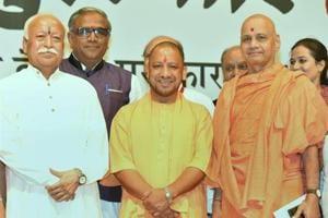 Uttar Pradesh Chief Minister Yogi Adityanath and RSS chief Mohan Bhagwat at the annual Bharatatma Ashokji Singhal Vedic Awards 2017 function in New Delhi.
