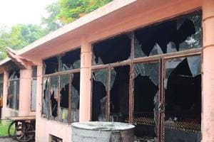 Broken windows at the Bodh Gaya Buddhist temple complex after low intensity blasts took place on July 7, 2013