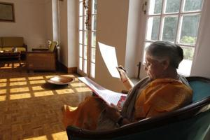 Former Chief Minister of Delhi Sheila Dikshit at her residence in New Delhi on Friday.