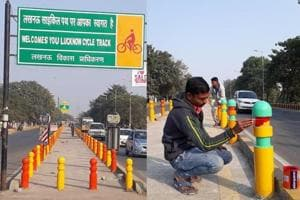 A combination photo shows the border pillars of cycle tracks first painted saffron and yellow and then re-painted to their original colours green-red-yellow.