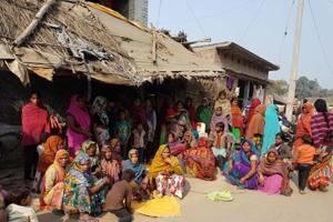 Family members of farmer Gyan Chandra at Bhauri village in Sitapur.