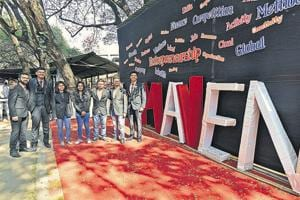 Core committee members of SP College's 'MAVEN' fest during the event on Friday.