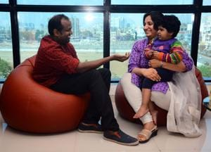 (From left) Shyne Devasia Kochuveed, Ivanka (child) and Protima Sharma share a light moment at the event held in city on Sunday.