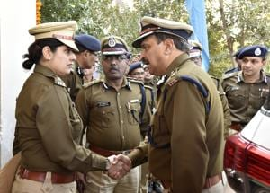 Haryana DGP BS Sandhu and Mewat SP Nazneen Bhasin at the inauguration of the STF office in Gurgaon.