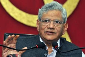 CPI(M) General Secretary Sitaram Yechury addresses a press conference after the party