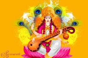 Saraswati Puja 2018: Women and men offer prayers, children take study...