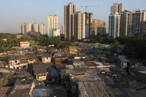 Slums side by side with high-rises in Thane, India, on November 8, 2017.