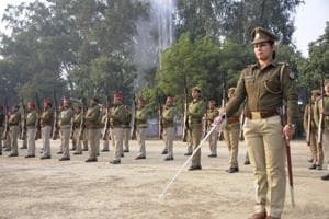 Police personnel rehearse for the Republic Day parade at Police Lines, Harsaon, Ghaziabad, on Monday.