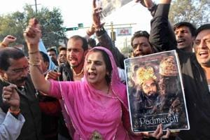 Karni Sena activists stage protest against the release of Padmaavat, in Bhopal.