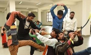 Lucknow, India - Jan. 19, 2018 Choreographers training the Snake charmers in Community Hall of Saifai.