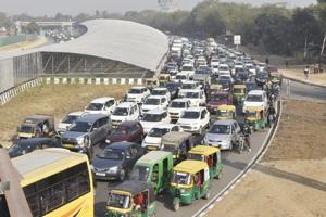 Traffic jam near Singnature Tower as traffic was diverted ahead of chief minister Manohar Lal Khattar's arrival to inaugurate the underpass here, on Monday.