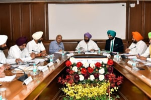 Punjab cabinet meeting chaired by chief minister Captain Amarinder Singh in April last year.
