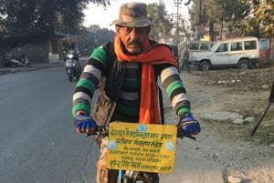 Man pedals 6,500 km to spread eco message