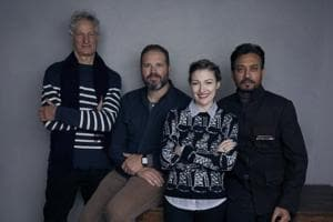 The Puzzle: Irrfan poses with David Denman, Kelly Macdonald at...