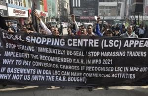 File photograph of shopkeepers staging a demonstration against the sealing drive in South Extension market in New Delhi  on January 19.