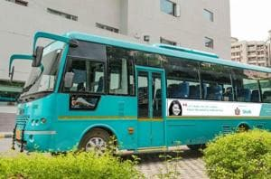 As part of a women's safety initiative by Gurgaon Police, 5 Shuttl buses in Gurgaon will have messages featuring the 24*7 women's helpline number and 24*7 child helpline number.