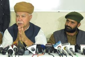 Founder of Shri Rajput Karni Sena Lokendra Singh Kalvi and its president Mahipal Singh Makrana at a press conference in Jaipur on Wednesday.