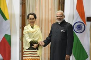 Prime Minister Narendra Modi with State Counsellor Aung San Suu Kyi at Hyderabad House in New Delhi on Wednesday 24.