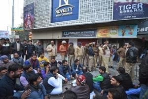 People protest against the release of film
