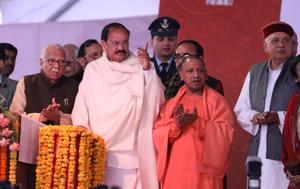 Vice-President Venkaiah Naidu, governor Ram Naik and CM yogi Adityanath at first UP day event in Lucknow.