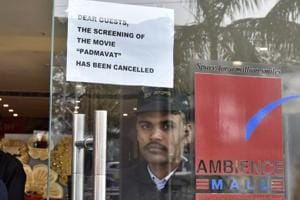 The circular at the entrance to Ambience Mall read: Dear guests, the screening of the movie Padmaavat has been cancelled.
