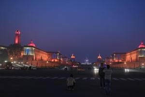 North and South Blocks are lit up on the eve of Republic Day in New Delhi on Thursday.