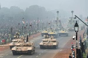 The 69th Republic Day parade at Rajpath in New Delhi took place on a foggy morning.