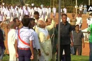 Rashtriya Swayamsevak Sangh chief Mohan Bhagwat reached the Vyas Vidya Peethom, a CBSE-affiliated higher secondary school, on Friday and unfurled the national flag in Kerala's Palakkad town.