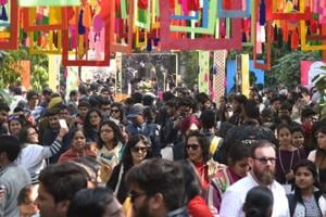 Visitors on the first day of the Jaipur Literature Festival at Jaipur's Diggi Palace on Thursday.