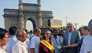 Sumaira Abdulali, founder of Awaaz foundation, and Manoj Saunik, principal secretary of the state transport department, at the Gateway of India on Saturday.