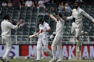 Indian players celebrate the fall of a South African batsman on the fourth day of the third cricket Test match at the Wanderers Stadium in Johannesburg. Catch full cricket score and highlights of India vs South Africa, 3rd Test, Day 4 here.