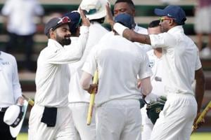 Indian cricket team captain Virat Kohli celebrates with teammates after winning the third Test against South Africa cricket team at Wanderers cricket ground in Johannesburg on Saturday.