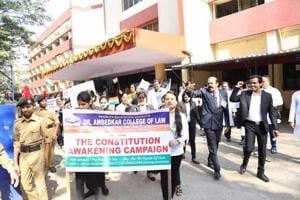 Students of Ambedkar College of Law in Mumbai took out a rally to sensitise people about constitutional values on Republic Day.