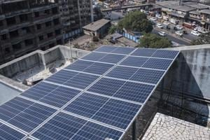 Mumbai, India - Jan. 28, 2018: The solar grid cost residents of Twin Star Cooperative Housing Society Rs14 lakh.
