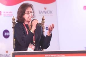 Nayantara Sahgal speaks during a session titled When the Moon Shines By Day at the Jaipur Literature Festival on Saturday.