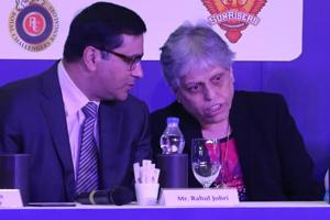 BCCI CEO Rahul Johri and Diana Edjuli, a member of the depleted Committee of Administrators, during the Indian Premier League auction in Bangalore on January 27, 2018. Johri has complained to the Supreme Court against officials who are stopping the implementation of the RM Lodha committee reforms in BCCI.