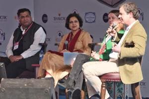 Cathy Scott-Clark(second from right ) and Peter Bergen (right) in conversation with Suhasini Haidar during the session Manhunt: Pakistan and the Search for Bin Laden at the Jaipur Literature Festival on Sunday.