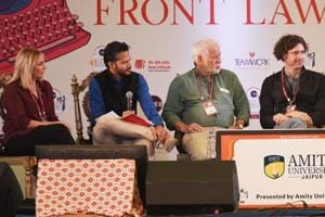 Panelists of the session titled The Art of the Novel included Amy Tan, Chika Unigwe, Helen Fielding, Joshua Ferris and Michael Ondaatje. They were in conversation with Chandrahas Choudhury.