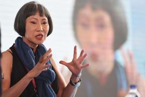 """""""In the Donald Trump world, we've gone back in time. A minister admits that he has molested a lot of girls and they applaud him!"""" said author Amy Tan, author of The Joy Luck Club."""