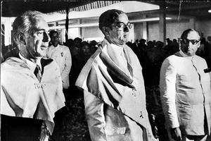 Actor Balraj Sahni and G Parthasarathi, Vice Chancellor, JNU, head to address Jawaharlal Nehru University's convocation in New Delhi in 1972.