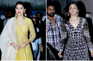 Take a closer look at actor Anushka Sharma's monochromatic, yesteryear chic anarkali set and actor Alia Bhatt's monochrome anarkali, which was for the more trend-driven dresser.