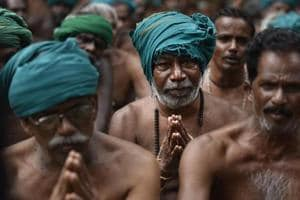 Farmers from Tamil Nadu stage a protest demanding loan waiver at Jantar Mantar in New Delhi last year.
