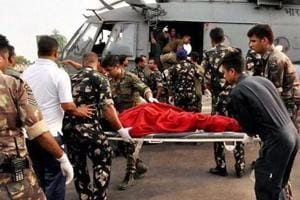 Injured Amarnath pilgrims being taken to hospital by the Indian Air Force rescue team last year in Jammu.
