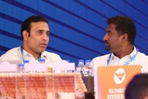 VVS Laxman and Muttiah Muralitharan during the Indian Premier League (IPL) auction in Bangalore.