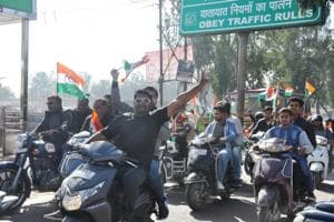 Participants flout traffic norms during the Congress