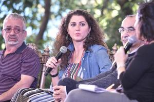 From left: Rabih Alameddine, Alia Malek and  Raja Shahdehah in conversation with Susan Abulhawa during the session Writing the Arab World at the Jaipur Literature Festival on Monday.