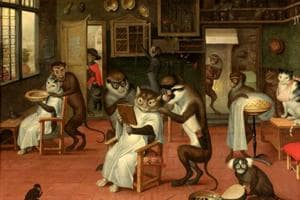 Barbershop with Monkeys and Cats is a painting by Flemish artist Abraham Teniers (1629-70).