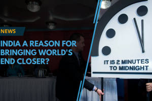 The symbolic Doomsday Clock, which represents concerns about humanity...
