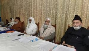 Officials of the All India Muslim Personal Law Board (AIMPLB) during a meeting on 'triple talaq' in Lucknow.