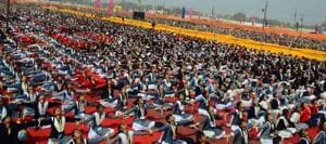 15,000 girl students from around 2500 Vidya Bharti schools, Sanskar Kendras and Ekal Vidyalayas from 49 districts of eastern UP attended the Samutkarsha Balika Shivir in Allahabad on Sunday.